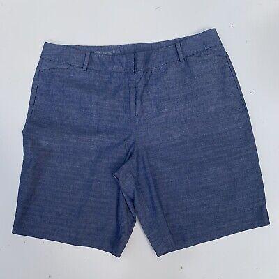 Ladies Talbots Perfect Short  flat front chambray blue Bermuda shorts size 16P