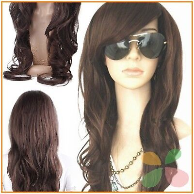 Dark Brown Long Wig Glamour Fashion Full Curly Wavy Woman Cosplay Human Hair NEW - Glamour Wig