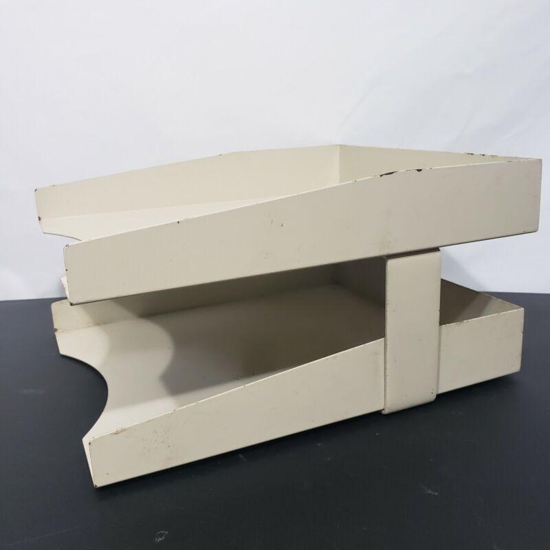 Vintage Metal Office Desk Tier Paper Tray Mid Century Industrial Organizer