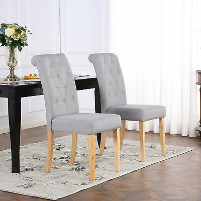 PREMIUM LINEN FABRIC DINING LIVING ROOM CHAIRS SCROLL HIGH BACK LIGHT GREY