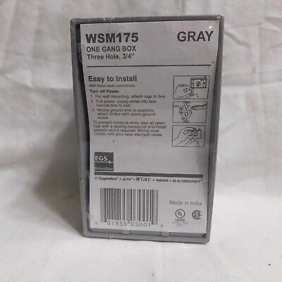 Gray Outdoor One-gang Metal Outlet Box 3 Outlets Wsm175