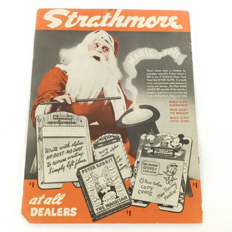 "1944 Strathmore Christmas Advertisement Color Ad ""Magic Toys"" Santa Claus"