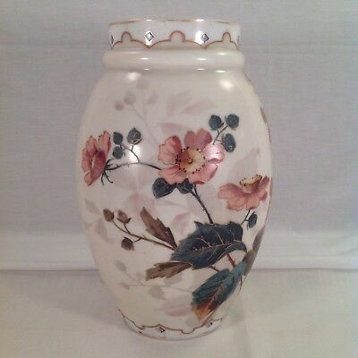 "Antique Hand Painted Floral 12.5"" Tall Vase With Gold, White And Blue Enameling"