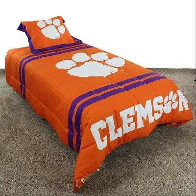 Clemson Tigers Reversible Comforter Set with Sham, Twin, Full or Queen Clemson Tigers Comforter