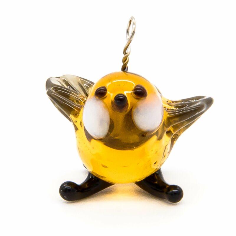 "Tiny 1/2"" Glass Sparrow Bird Figurine, Handmade Hand Blown Art Glass, Pendant"