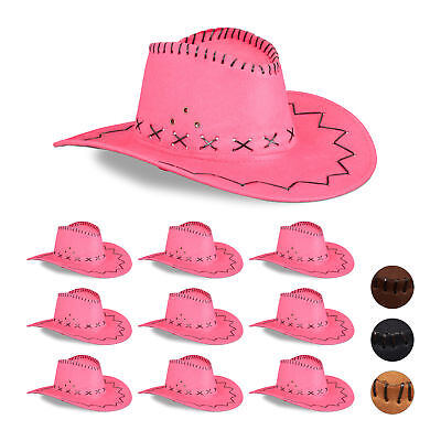 10 x Cowboyhut pink, Cowgirlhut, Faschingshut Scherzhut Fasching Westernhut rosa - Rosa Cowgirl