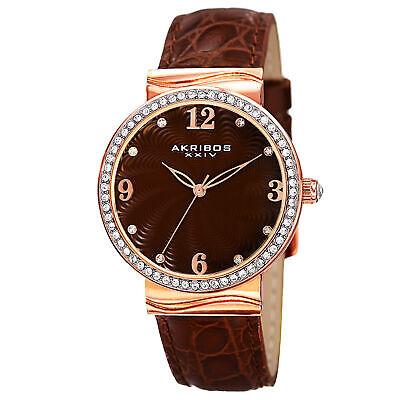 New Women's Akribos XXIV AK829RGBR Quartz Swarovski Crystal Brown Leather Watch