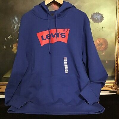 NWT Levi's Men's Sportswear Classic Logo Hoodie sweatshirt Blue size L Blue Classic Logo Hoody Sweatshirt