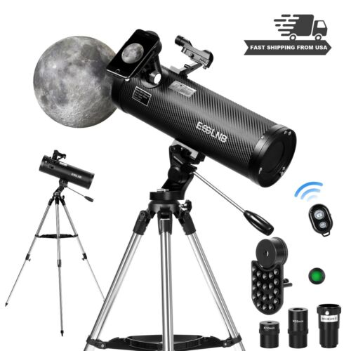 114AZ Newtonian Reflector Astronomical Telescope 150X for Moon Watching Adults