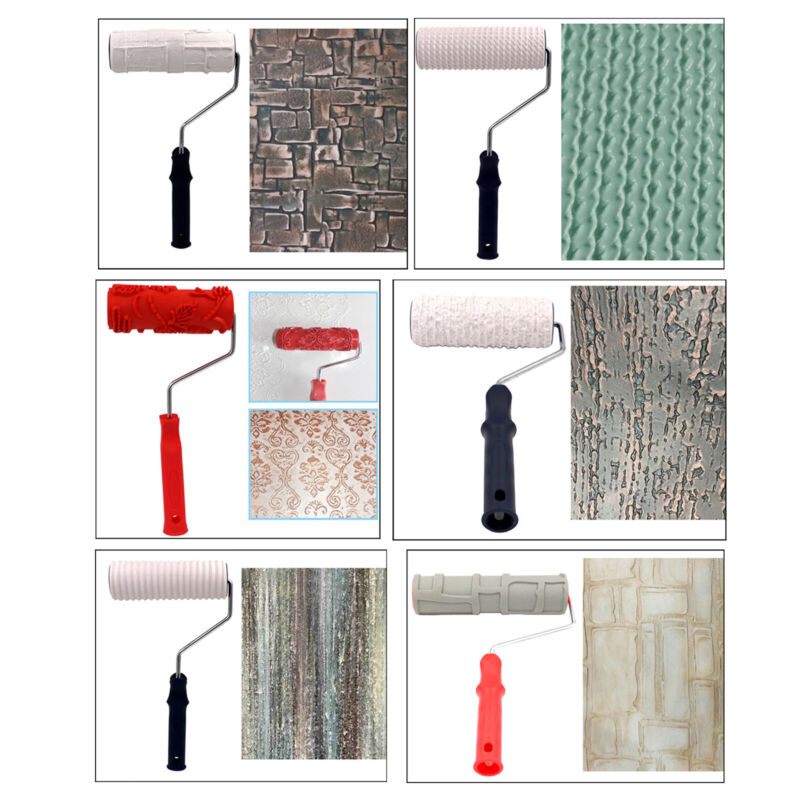 Embossed Texture Pattern Paint Roller Wall Decorative Painting Rubber Brushes