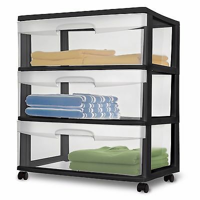 (Sterilite 3 Drawer Cart Wide Rolling Cabinet Box Plastic Extra Storage Black NEW)