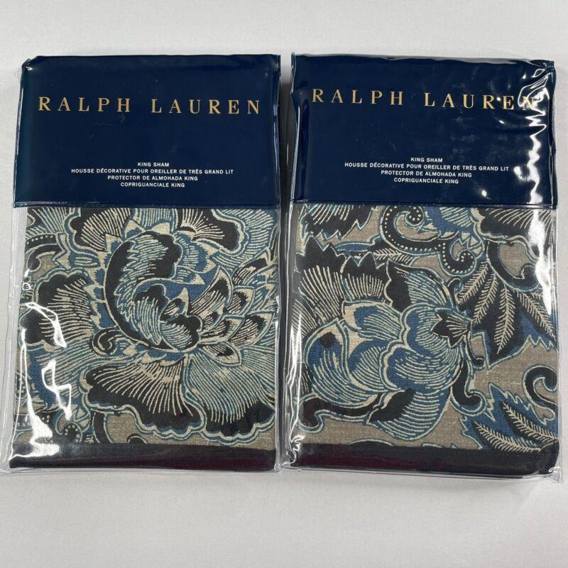 "Ralph Lauren Journey's End Navy KING Sham Rainey Set of 2, 20"" x 36"""