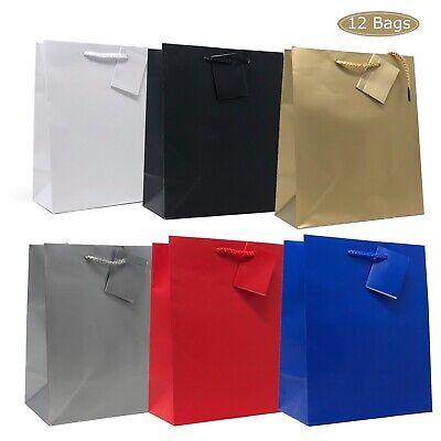 Allgala 12PK Premium Medium Solid Color Matte Finish Paper Gift Bags 9