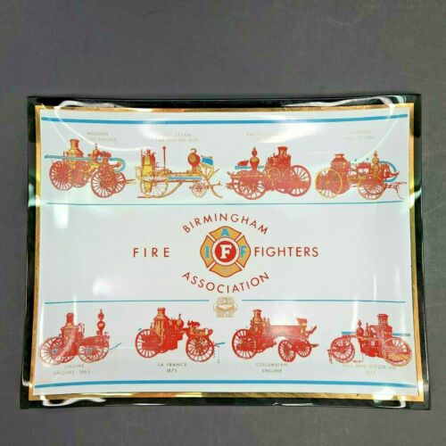Vintage American Flint Glass Workers Union Birmingham Fire Fighters Assn Dish