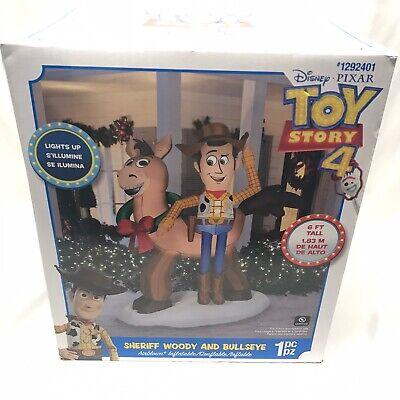 Gemmy Disney 6 ft Toy story 4 Sheriff Woody and Bullseye Airblown Inflatable NIB