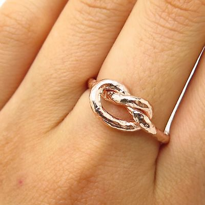 Italy Dyadema 925 Sterling Rose Gold Plated Love Knot Design Ring Size 8.5