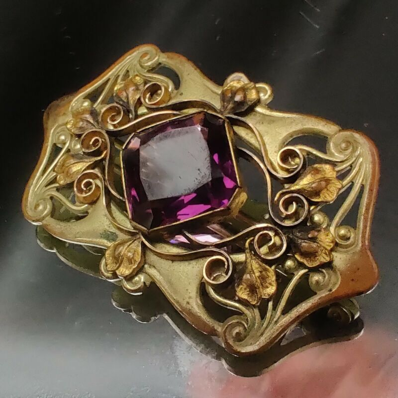 Antique Vintage Art Nouveau Brass Amethyst Glass Edwardian Brooch 1910