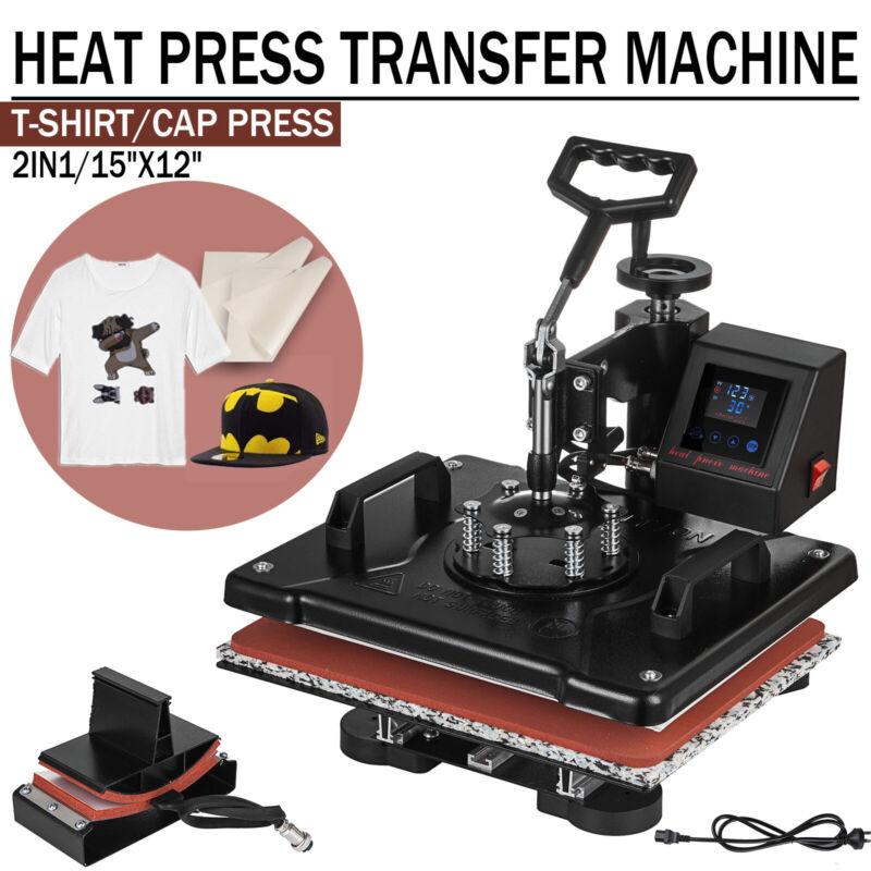 2 in 1 LED Heat Press Machine Transfer Sublimation T-Shirt Cap Hat Plate 12x15