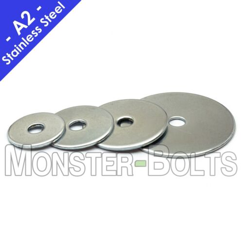 """1/4"""" Stainless Steel Fender (Penny) Washers, A2 / 304 - 1/4 x 1"""", 1-1/4"""", 1-1/2"""""""