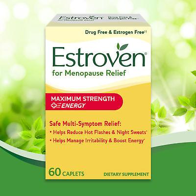 Estroven Maximum Strength + Energy 60 Caplets Hot Flashes Night Sweats MENOPAUSE