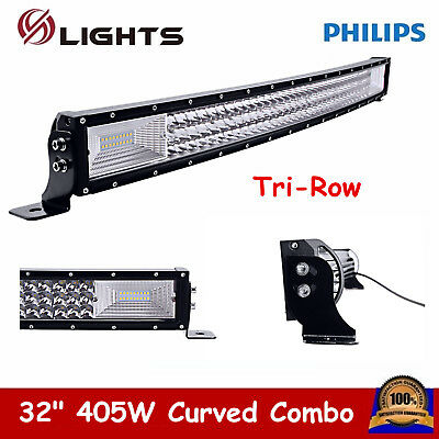 7D+ Tri-Row 32inch 405W Curved LED Work Light Bar Combo Off-Road ATV 180W 33/34