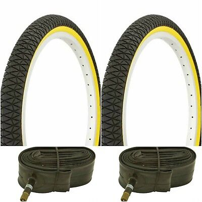 """DURO 20/""""X1.95 2 TWO BMX BICYCLE TIRES BLACK WITH RED LINE 50-406"""