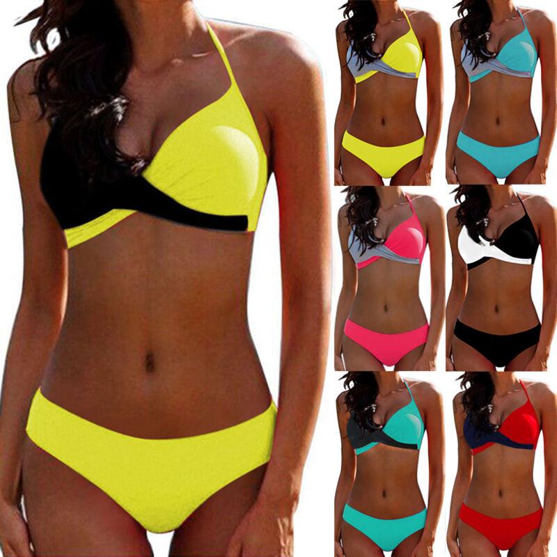 Padded Bra Bikini Set Swimsuit Bandage Push-up Swimwear Halt