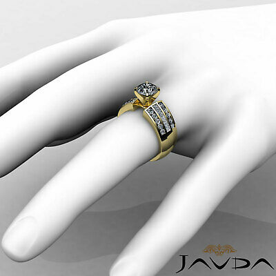 3 Row Channel Set Round Natural Diamond Engagement Ring GIA Certified G SI1 2Ct 11