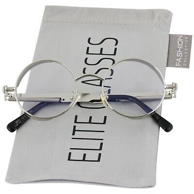 Round Steampunk Glasses Sunglasses Men Women Metal Fashion Designer Silver Clear](Steampunk Fashion Male)
