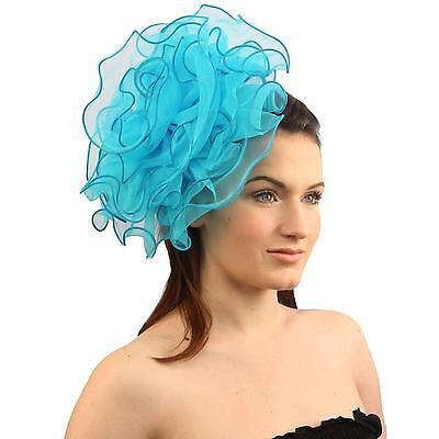 Elegant Derby Ruffle Floral Headband Fascinator Millinery Cocktail Hat Turquoise