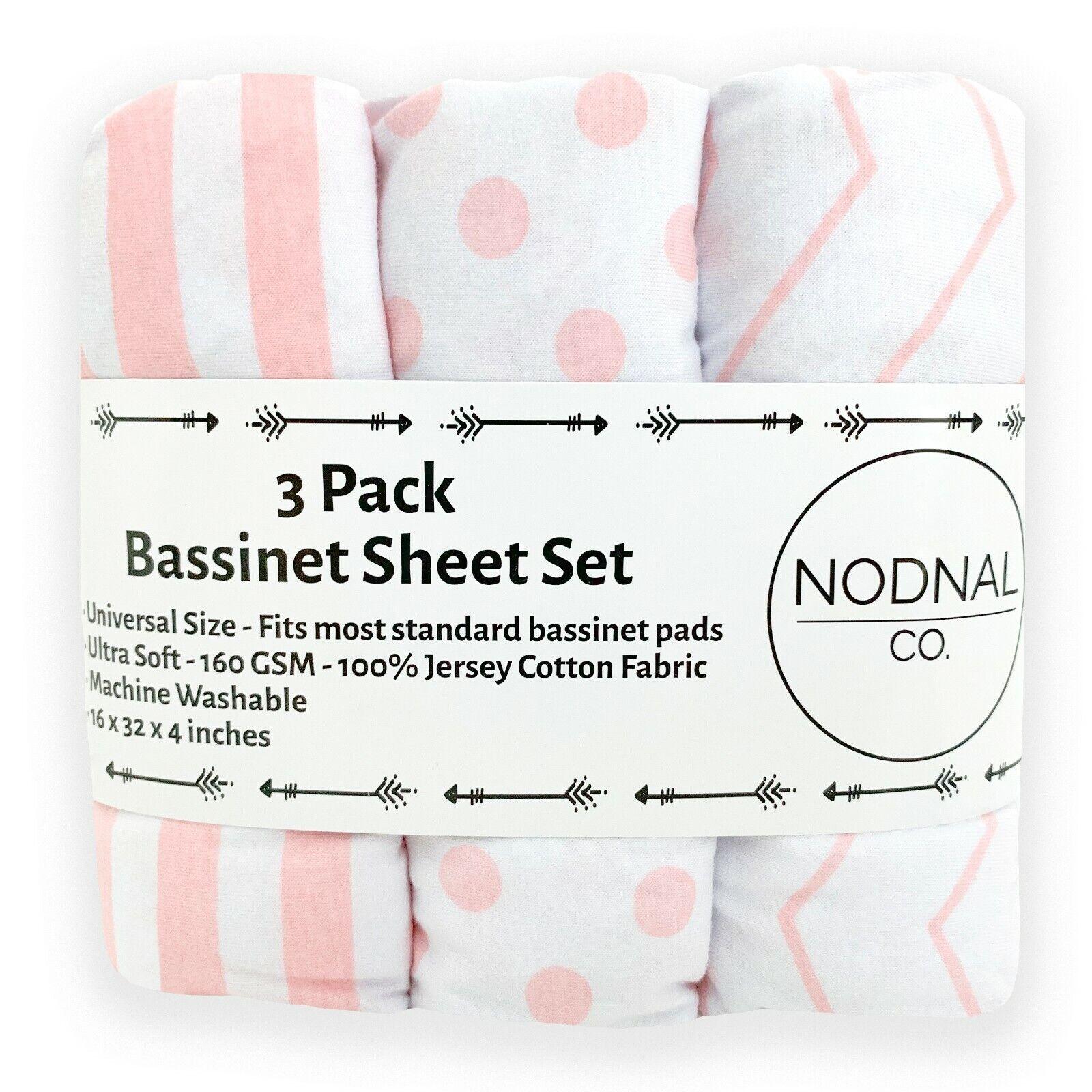3 pack bassinet fitted sheet set 100
