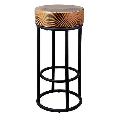 68cm Industrial Metal Black Bar Stool Chunky Round Wooden Top Kitchen Side Table