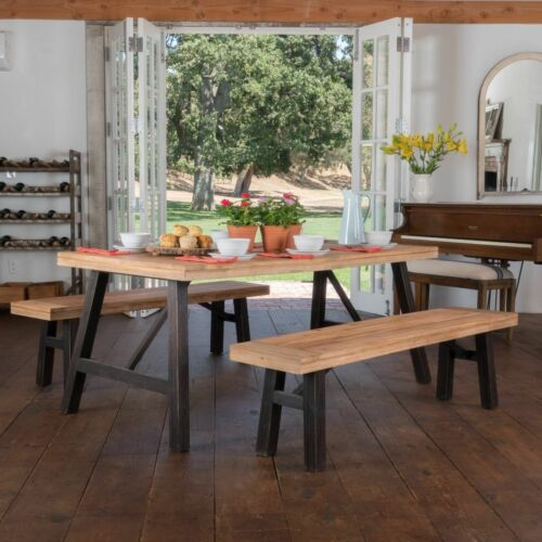 Arlington Farmhouse 4 Seater Benches & Table Picnic Dining Set Dining Sets