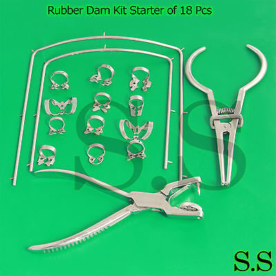 Rubber Dam Kit Starter Of 18 Pcs With Frame Punch Clamps Dental Instrumen Dn-592