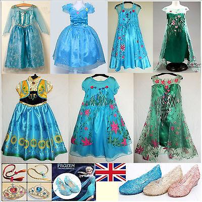 UK Girls Frozen Fever Elsa Anna Cinderella Princess CostumePartyFancyDress Shoes