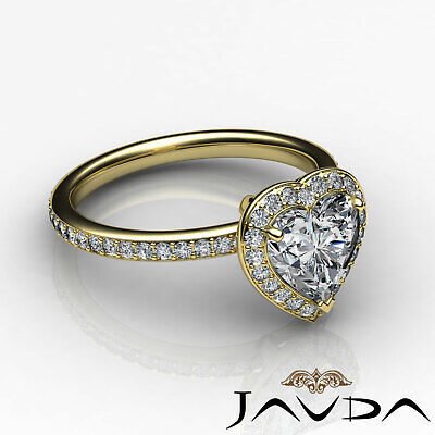 2 ct Halo Pave Heart Diamond Engagement Brilliant Ring 14K White Gold F SI1 GIA 10