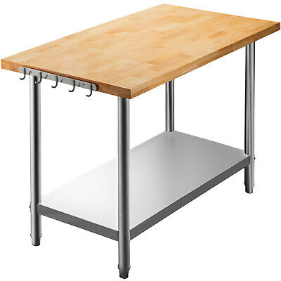 Vevor Maple Top Work Table Kitchen Prep Table Wood 48 X 24 In Stainless Steel