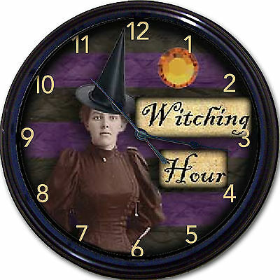Witching Hour Witch Wall Clock Halloween Demons Ghosts Sorcerer Midnight New 10