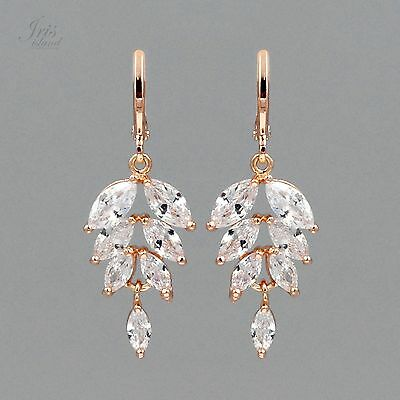 - ROSE GOLD Plated Clear Cubic Zirconia CZ Wedding Bridal Drop Dangle Earrings 049
