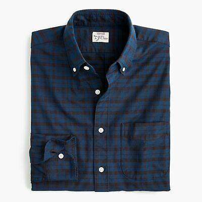 J. Crew Slim American Pima Cotton Oxford Navy Blue Plaid Casual Dress Shirt S