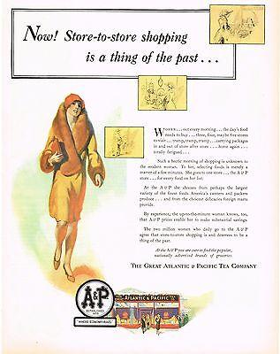 1920s Big Vintage A&P Store Flapper Woman Fashion Fur Coat Art Print Ad