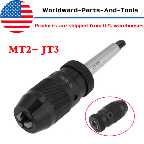 1-16mm Self Tighten Keyless Lathe Drill Chuck & MT2- JT3 Taper Arbor Live Center