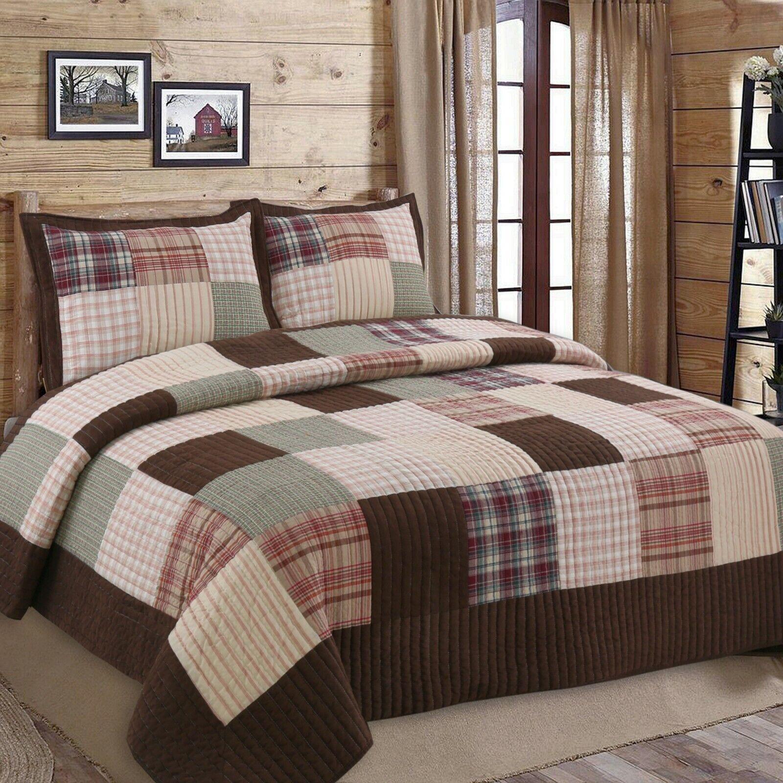 Jakob Plaid Real Patchwork 100%Cotton Quilt Set, Bedspread,