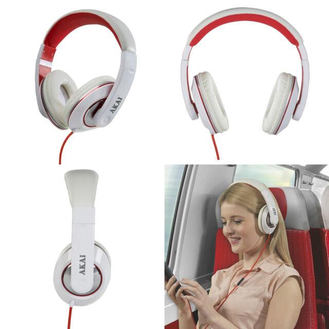 AKAI White Stereo DJ Style Foldable Over-ear Earphones Headphones Headset Sport
