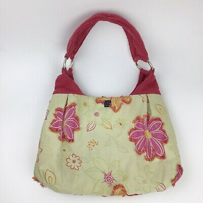 Lisa Lill Studio Microsuede Floral Yellow Pink Tweed Hand Bag Medium Shoulder  Lill Studio