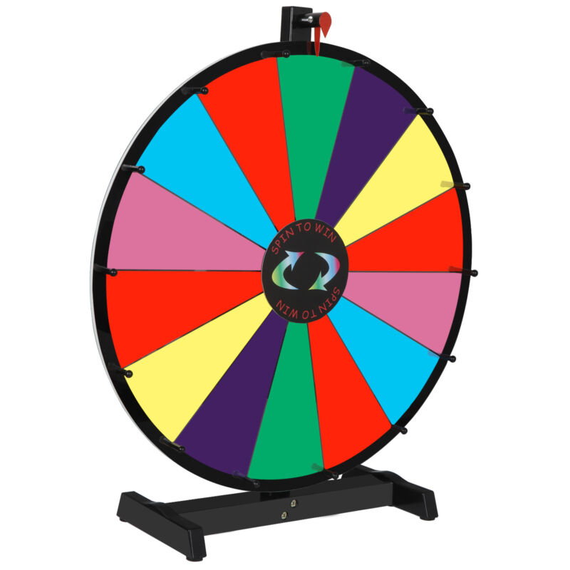 """Prize Wheel 24"""" Editable Stand Fortune Spinning Game Tabletop Color Dry Erase"""
