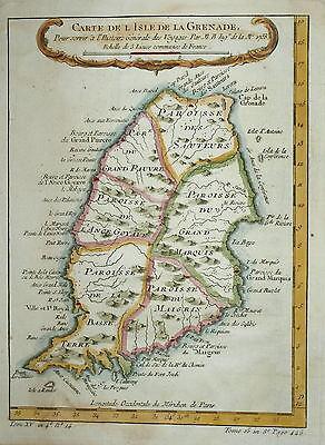 CARTE DE L'ISLE DE LA GRENADE BY BELLIN 1758