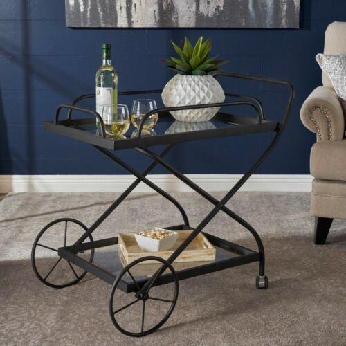 Presley Indoor Traditional Black Iron Bar Cart with Tempered Glass Shelves Bar Carts & Serving Carts