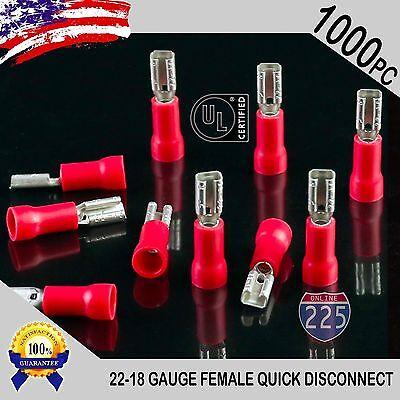 1000 Pack 22-18 Gauge Female Quick Disconnect Red Vinyl Crimp Terminals .110 Us