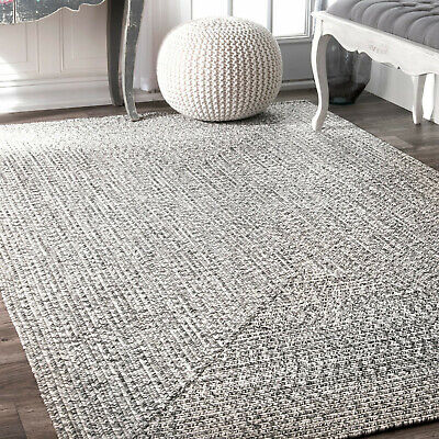 Indoor Outdoor Rug Braided Rugs Small Large Patio Kitchen Living Room Grey Mats - Large Kitchen Rugs